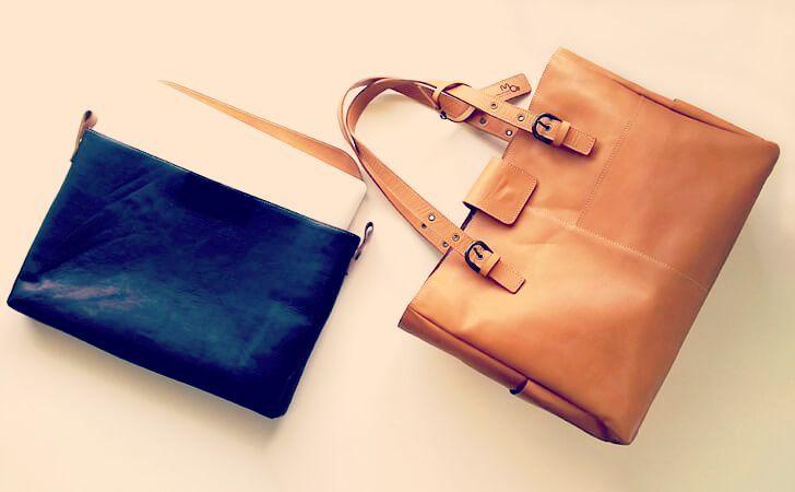 moeの革のトートバッグとタブレット・PCケース