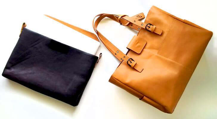 PCを収容できビジバッグにも使える革のトートバッグ