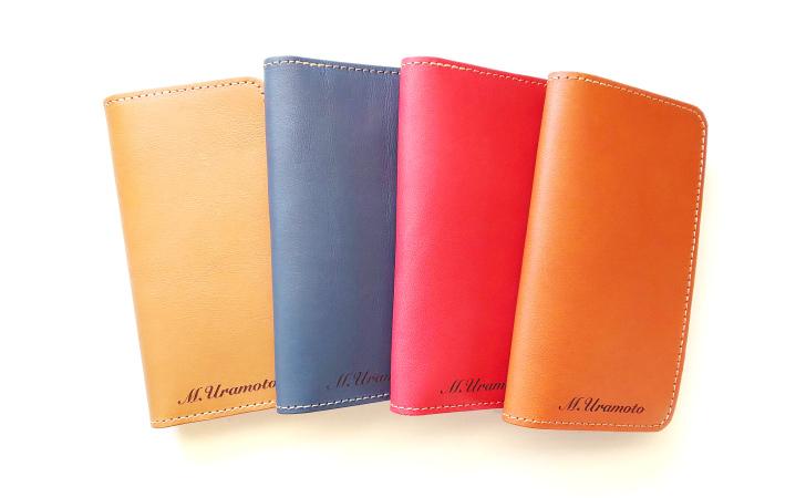 革の手帳型スマホケースrusticのキャメル、チャコールグレー、バーミリオン、レンガ各色