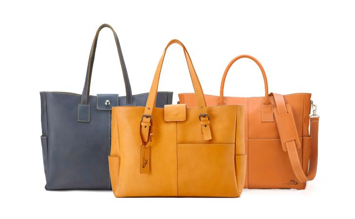 ビジネス、カジュアルに使える革のトートバッグ